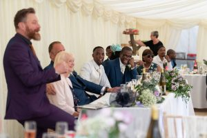wedding top table laughter